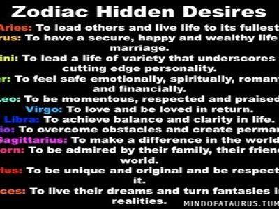 Hidden desires of each zodiac sign....