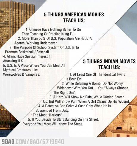 10 things American and Indian movies teach us...HAHAHAHAHA!