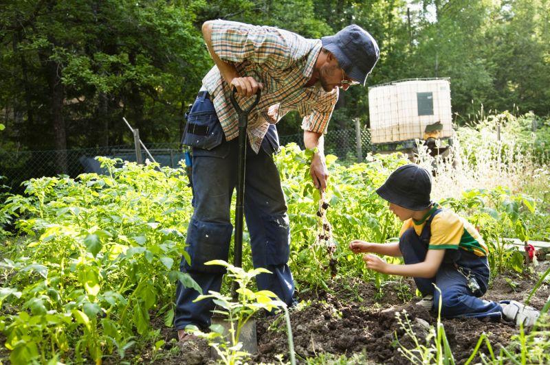 Gardening with kids is fun.