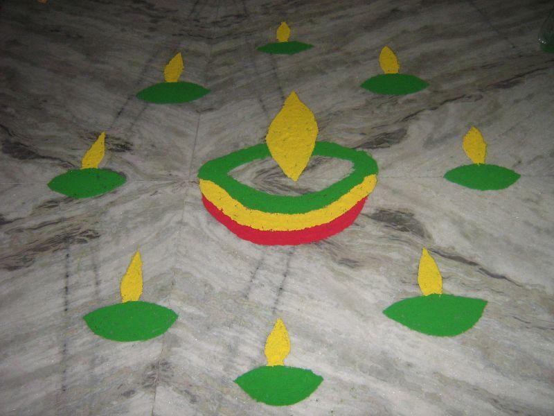 my child's diwali rangoli...isn't it cute?